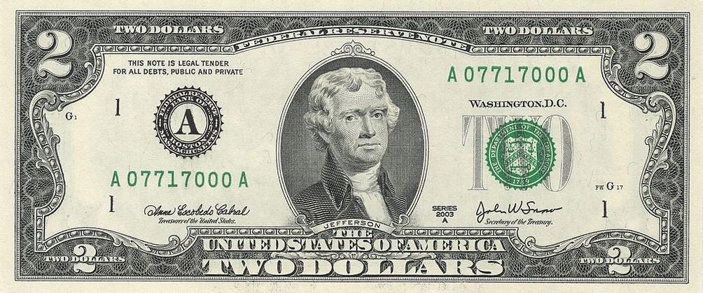 Купюра номиналом 2 доллара