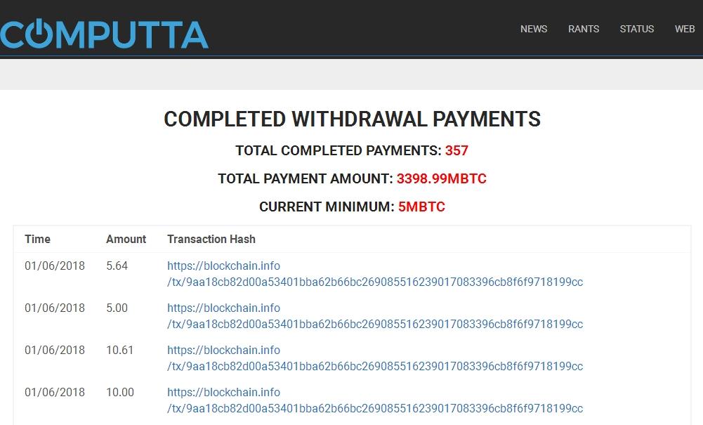Computta - выплаты,withdrawal